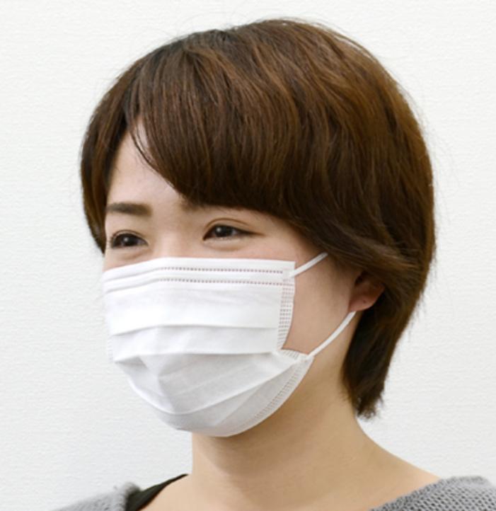 マスクのプリーツはアゴまで