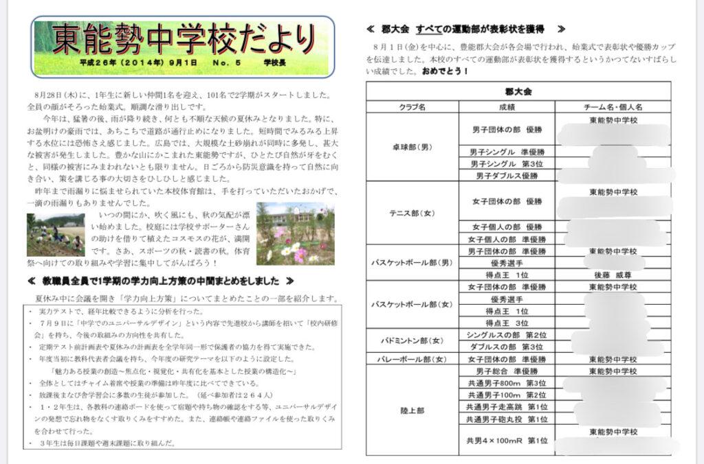 後藤威尊さんは東能勢中学校